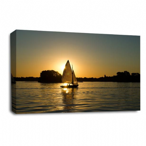 Sunset Seascape Wall Art Picture Orange Gold Sailing Boat Print